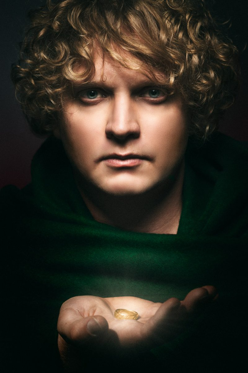 Frodo Baggins holding the one ring