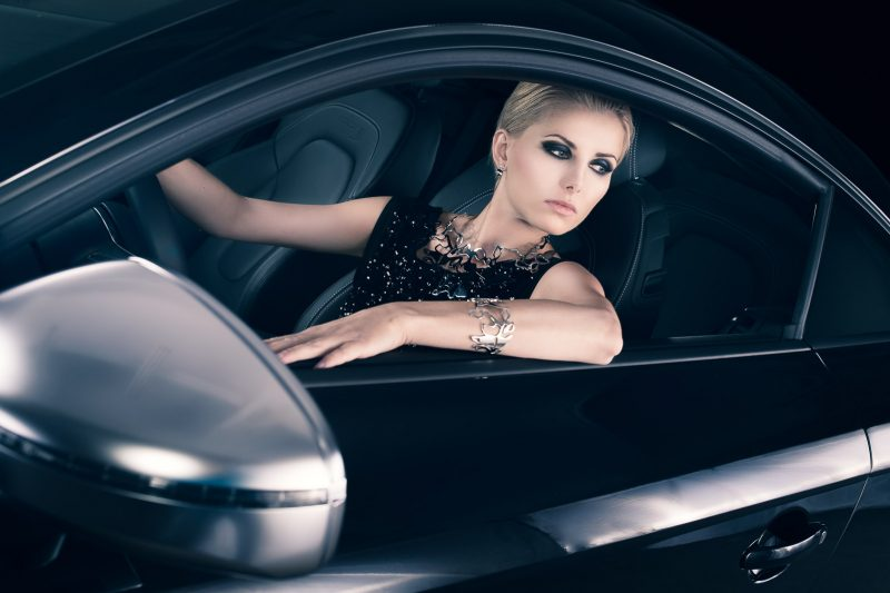 Luxury car Audi TTS and luxury woman