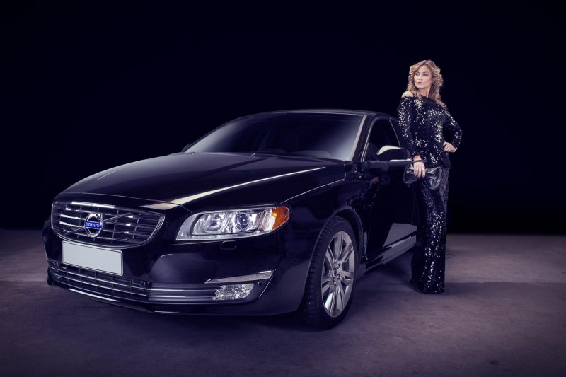 Luxury car Volvo and luxury woman