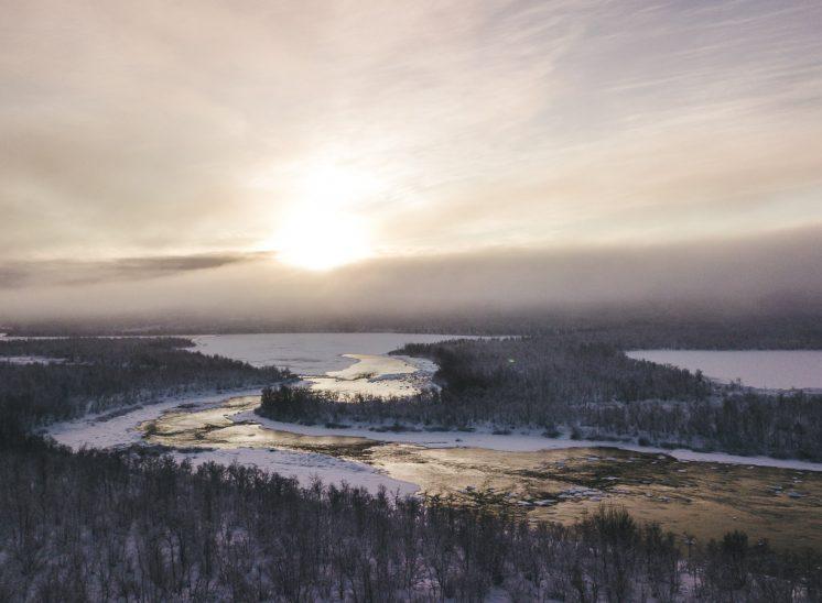 Aerial photo of Torne river, Tornion joki