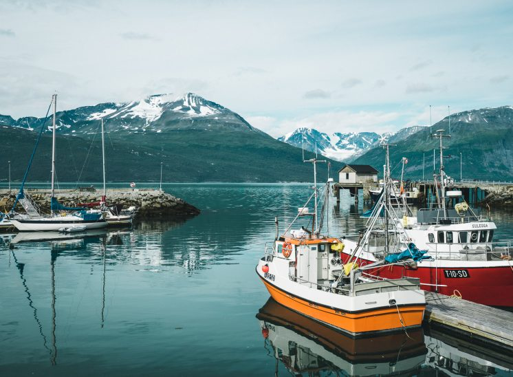 Northern Norway fjords and fishing boats
