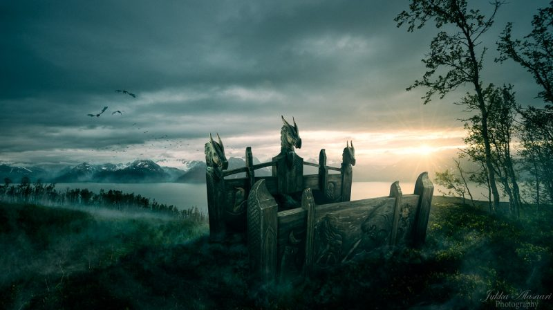 viking bed furniture in epic landscape puustikki