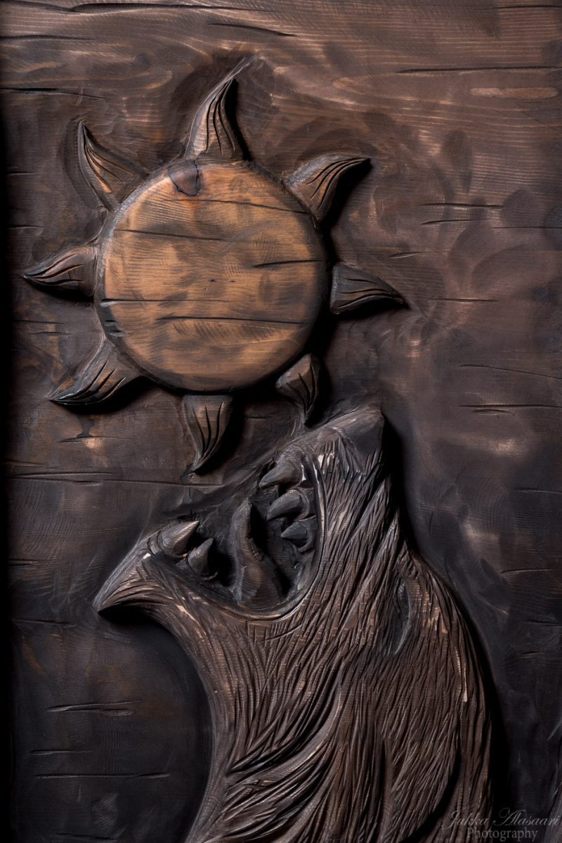 viking furniture details wolf Fenrir devouring the sun puustikki