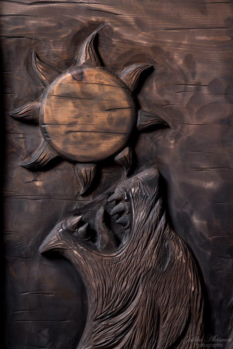 viking furniture details wolf Fenrir devouring the sun puustikki